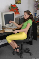 Sexy teen secretary in yellow spandex 01