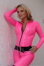 Pink latex catsuit  03