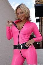 Pink latex catsuit  04
