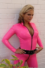 Pink latex catsuit  05