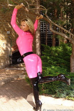 Pink latex catsuit  07