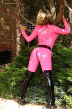 Pink latex catsuit  09