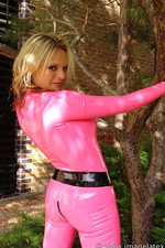 Pink latex catsuit  10