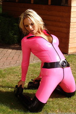Pink latex catsuit  11