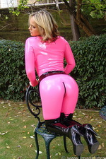 Pink latex catsuit  23