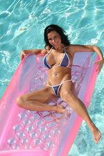 Tiny Blue Fishnet Thong Bikini 01