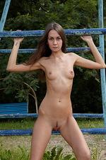 Angelina playing on steel bars!  00
