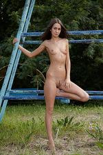 Angelina playing on steel bars!  03