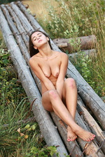 Tanlined brunette beauty posing naked 02