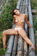 Tanlined brunette beauty posing naked 11
