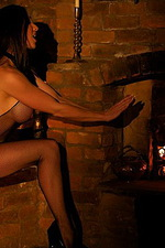 Fireside toy fun in a crothless fishnet 00