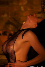Fireside toy fun in a crothless fishnet 08