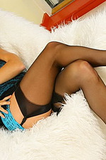 Cassie in fishnet dress & stockings 01