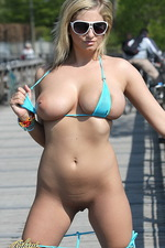 Busty blue bikini babe on a woodbridge 10