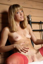 Amber in red stockings 09