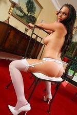 Gorgeous look Eva poses in stockings 03
