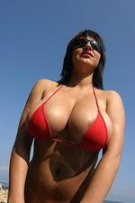 Kora Kryk red bikini in Croatian sea 05