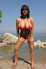 Kora Kryk red bikini in Croatian sea 14