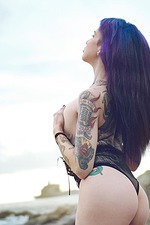 Purple Hair And Tattoo 10