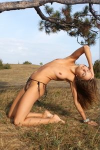 Sexy brunette chick likes outdoor nudity