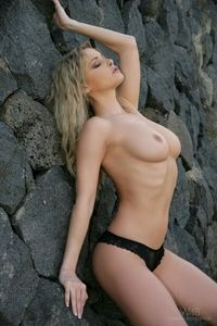 Hot sweet blonde at the cliffs