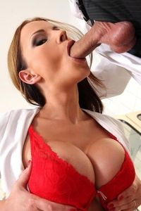 Sexy Nurse Abbie Stuffs Her Mouth cock