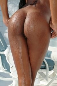 Hot Ebony Slut Aline Poolside
