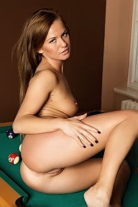 Della Ass On Top Of Pool Table