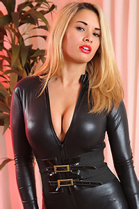 Blonde Dani In Black Latex