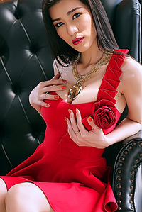 Asian Babe In Red Dress