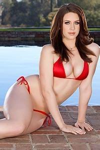 Delilah Blue In Red Bikini