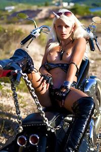 Hot Blonde Biker Girl Nika Masturbates Outdoors