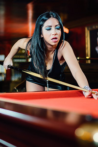 Hot Latina Julia De Lucia Strips On The Pool Table