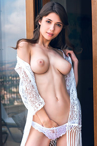 Mila Azul Dressed In Nothing But A Lacy Top