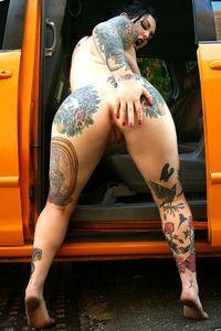 Tattooed Slut Adahlia Posing Outdoor