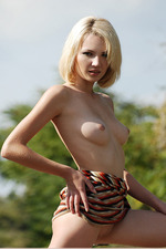 Milana Poses Naked Outdoors 06